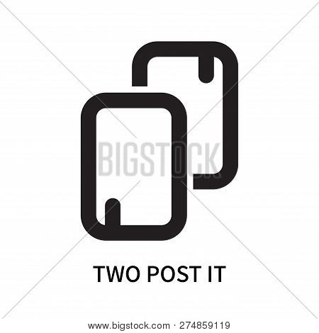 Two Post It Icon Isolated On White Background. Two Post It Icon Simple Sign. Two Post It Icon Trendy