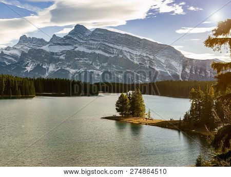 Landscape View Of Two Jack Lake And Mount Rundle At Banff National Park In Alberta, Canada