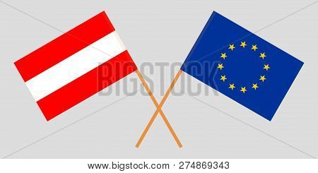 Austria And Eu. The Austrian And European Union Flags. Official Colors. Correct Proportion. Vector I