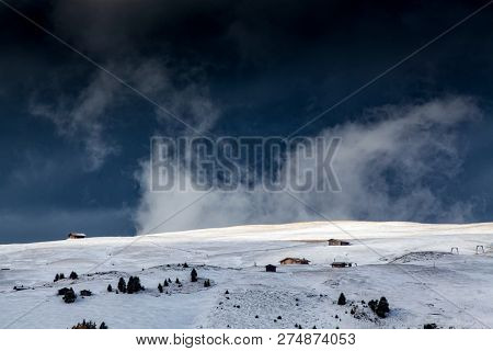snowy early winter landscape in Alpe di Siusi.  Dolomites,  Italy - winter holidays destination