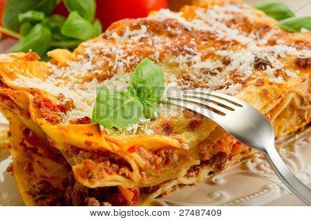 lasagna on dish