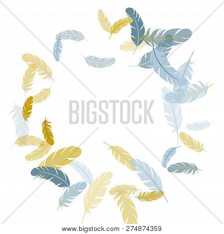 Minimal Silver Gold Feathers Vector Background. Fluffy Twirled Feathers On White Design. Angel Wing