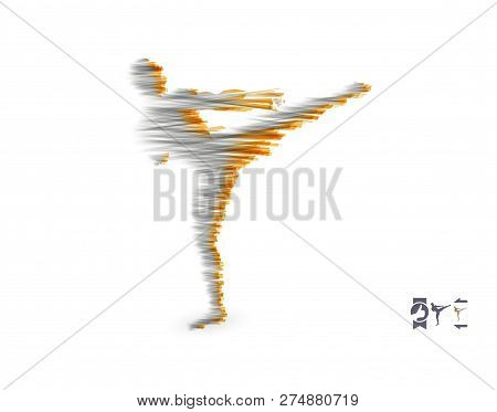 Kickbox Fighter Preparing To Execute A High Kick. Silhouette Of A Fighting Man. Design Template For