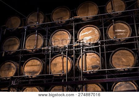 Wooden Barrel Aged Alcohol, Barrel Brandy In Basement, Storage Wine In Cellar, Alcohol Container, Dr