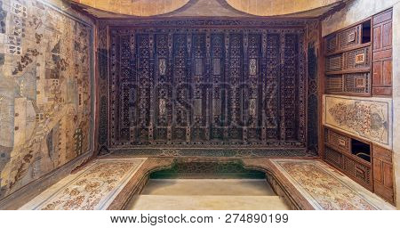 Cairo, Egypt - December 16 2018:  Wooden Ceiling Decorated With Floral Pattern Decorations, Mural, A