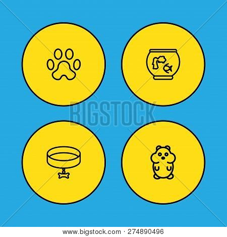 Set Of 4 Mammal Icons Line Style Set. Collection Of Neckband, Fishbowl, Rat Elements.