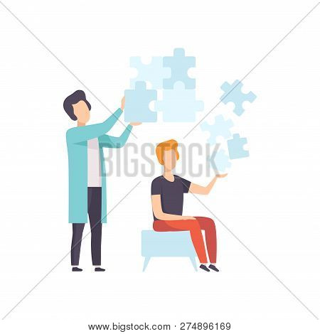 Psychologist Counseling Man With Mental Problems, Psychotherapy And Psychological Problem Vector Ill