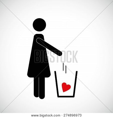 Woman Throws Red Heart In The Trash Pictogram Icon Vector Illsutration Eps10