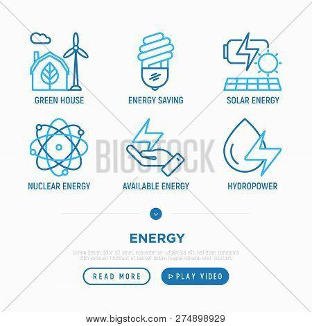 Energy Thin Line Icons Set: Green House, Wind Energy, Light Bulb, Solar Energy, Nuclear Energy, Hydr