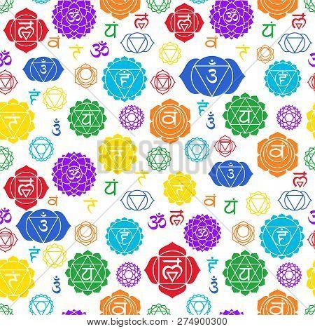 Chakras Seamless Pattern. Vector Esoteric Background. Hinduism, Buddhism. Muladhara, Swadhisthana, M