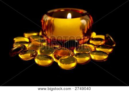 Candle With Gold Glass Beads