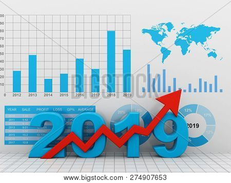 Business Graph With Red Arrow Up, Represents Growth In The Year 2019. Business Growth. 3d Illustrati