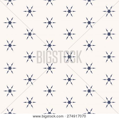 Vector Snowflakes Seamless Pattern. Abstract Minimalist Navy Blue And White Texture With Small Geome