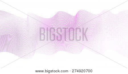 Soft pink waveform, striped horizontal wave pattern. Abstract background, pink, violet, white gradient. Ripple, flowing ribbon imitation, silk scarf. Squiggle art lines, vector waving design element. EPS10 illustration
