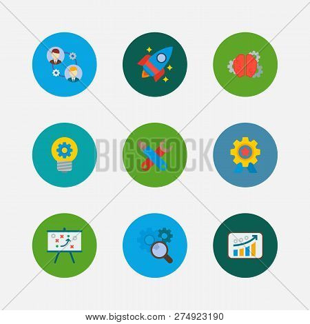Technology Cooperation Icons Set. Technical Strategy And Technology Cooperation Icons With Growth, C