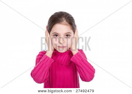 Young little girl covering ears