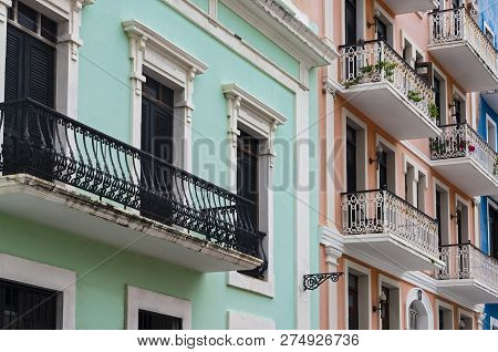 Colorful Facades Of Colonial Architecture Preserved In Historic Old San Juan Puerto Rico