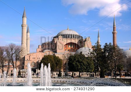 Istanbul, Turkey - January 15, 2018: View Of Hagia Sophia Museum In Istanbul, Turkey, In The Springt