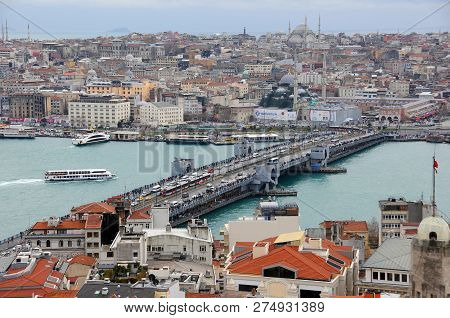 Istanbul, Turkey - January 14, 2018: View Of Golden Horn Harbor And Galata Bridge From Galata Tower
