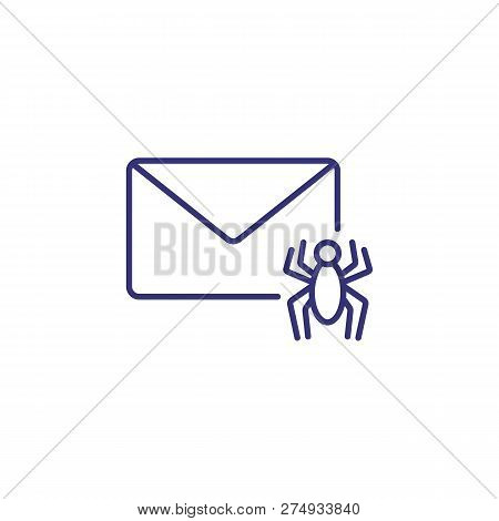Unsafe Mail Line Icon. Envelope With Bug On White Background. Security Concept. Vector Illustration