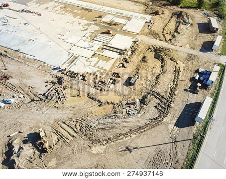 Aerial View Footing And Foundation Of Construction Site Near Expressway