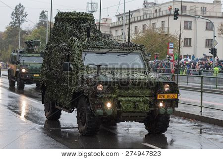 Soldiers Of Czech Army Are Riding Iveco Lmv  On Military Parade