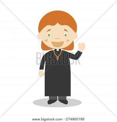 Cute Cartoon Vector Illustration Of A Priest. Women Professions Series