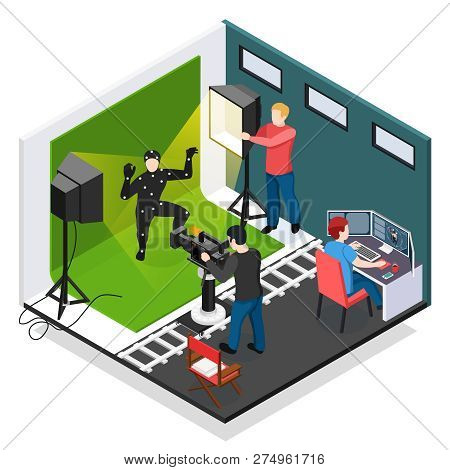 Cinema Motion Capture Isometric Composition With Actor Videographer Illuminator And Graphic Designer