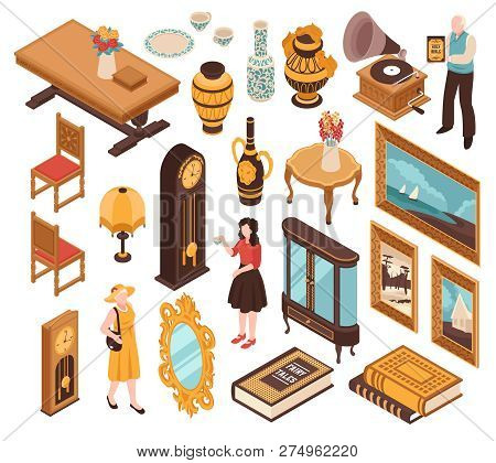Antiquarian Isometric Set Of Vintage Furniture Striking Clocks Old Books And Items For Home Interior