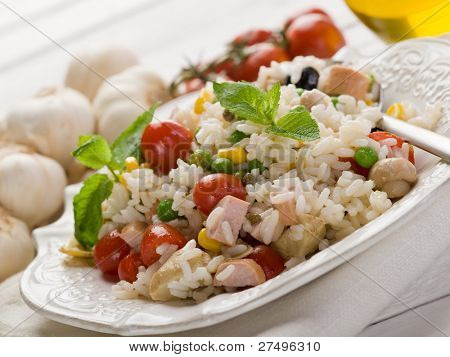 rice salad with fresh tomatoes on dish