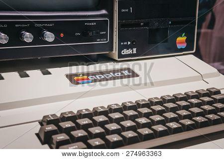 Prague, Czech Republic - August 28, 2018: Macintosh Apple Ii Computer On Display Inside Apple Museum