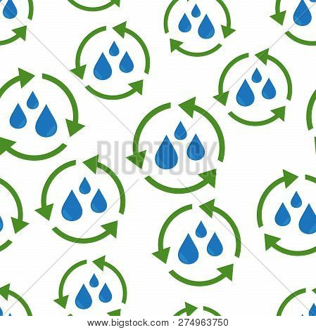 Water cycle seamless pattern background. Business flat vector  poster