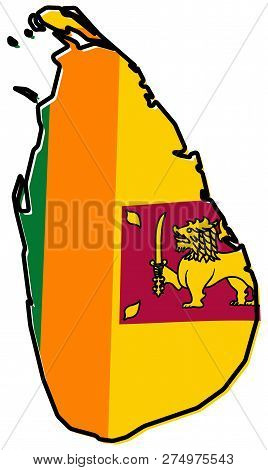 Simplified Map Of Sri Lanka (ceylon) Outline, With Slightly Bent Flag Under It.