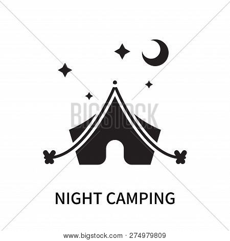 Night Camping Icon Isolated On White Background. Night Camping Icon Simple Sign. Night Camping Icon