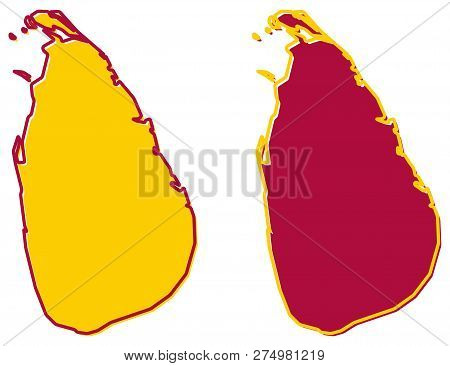 Simplified Map Of Sri Lanka (ceylon) Outline. Fill And Stroke Are National Colours.