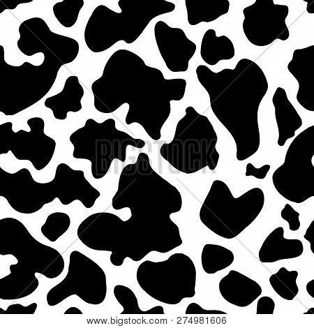 Seamless Texture Of Cow Hide. Wallpaper Skin Of Cattle. Vector Cow Skin