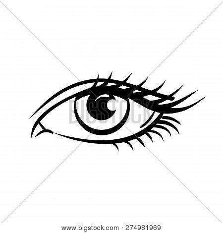Eye On White Background. Woman Eye. The Eye Logo. Eyes Art. Human Eye, Eye Close Up - Vector