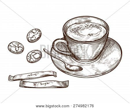 Hand Drawn Set, Cup Of Hot Drink, Oat Cookies And Packaging Sugar, Isolated On White Background