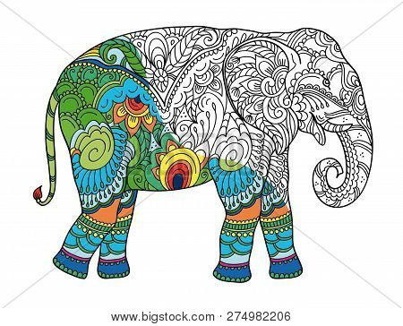 Drawing Stylized Elephant. Freehand Sketch For Adult Anti Stress Coloring Book For Adultpage With Do