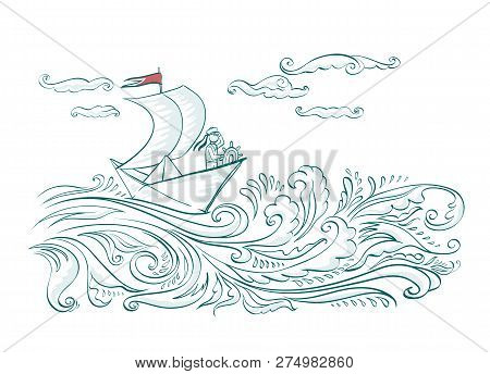 Origami Paper Boat On The Waves Of The Sea With A Sailor