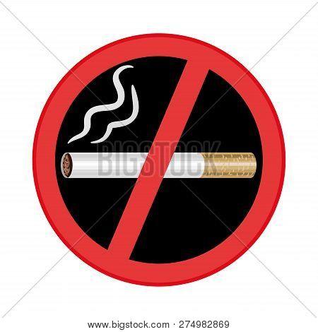 No Smoking Sign On Black Background. Vector Illustration