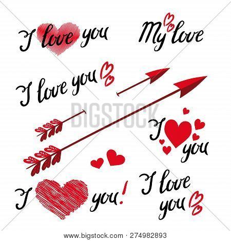 Set Of I Love You Hand Lettering And Elements With Decorative Ornaments, Hearts And Arrow. Design Ob