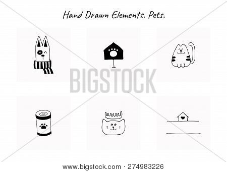 Set Of Vector Hand Drawn Icons, Domestic Animals. Logo Elements For Pets Related Business. Illustrat