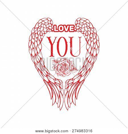 Love You Sketch Vector Color Illustration. Hand Drawn Angel Wings And Rose Flower Isolated Clipart.