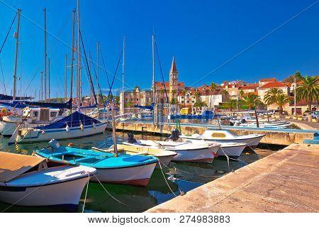 Town Of Milna Harbor And Historic Skyline View, Island Of Brac, Dalmatia, Croatia