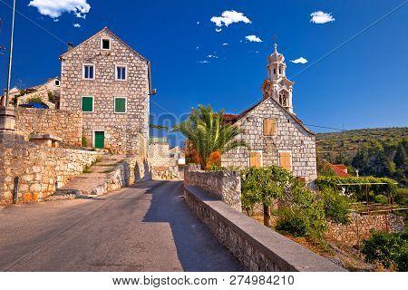 Village Of Lozisca On Brac Island Street View, Dalmatia, Croatia