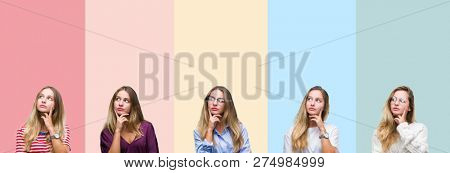 Collage of beautiful young woman over colorful stripes isolated background with hand on chin thinking about question, pensive expression. Smiling with thoughtful face. Doubt concept.