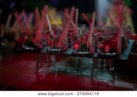 Buffet At Party. Quick Snacks On The Buffet Table. Dishes With Chopped Meat And Vegetables. Lumiere