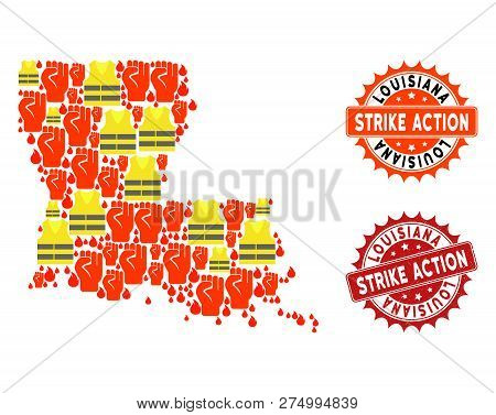 Strike Action Collage Of Revolting Map Of Louisiana State, Grunge And Clean Seals. Map Of Louisiana