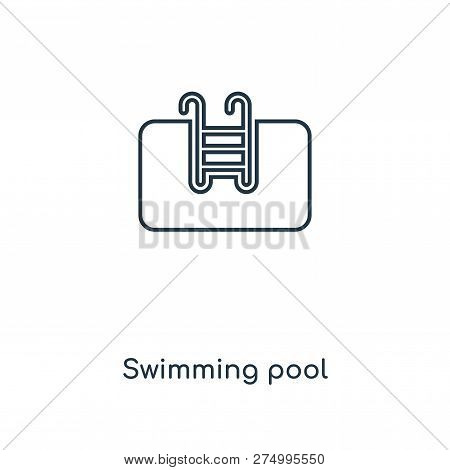 Swimming Pool Icon In Trendy Design Style. Swimming Pool Icon Isolated On White Background. Swimming